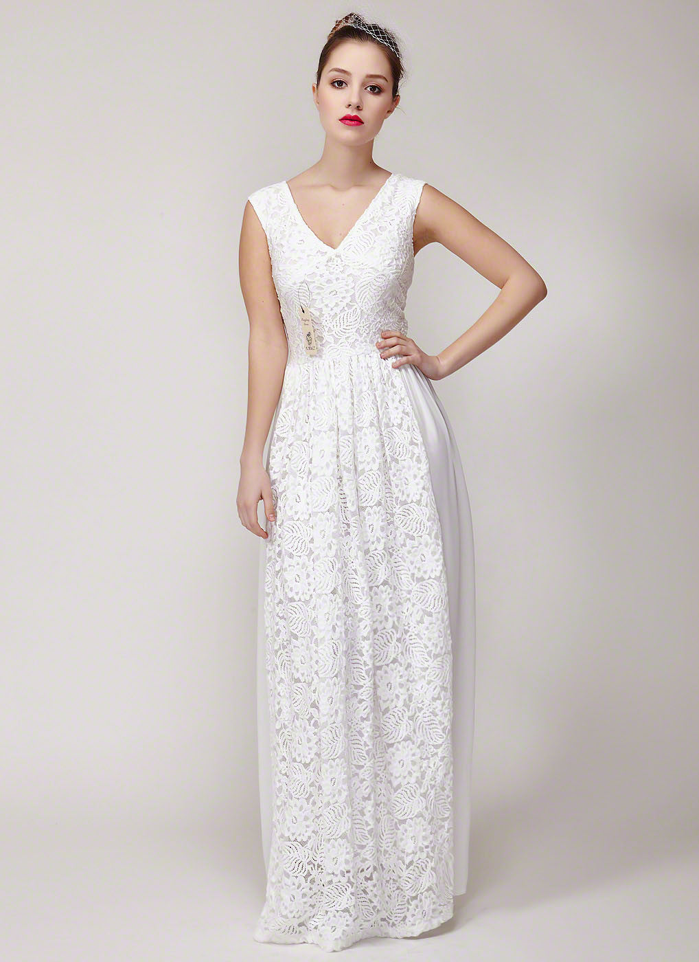 White V Neck Floral Lace Formal Evening Dress with Empire Waistline ...