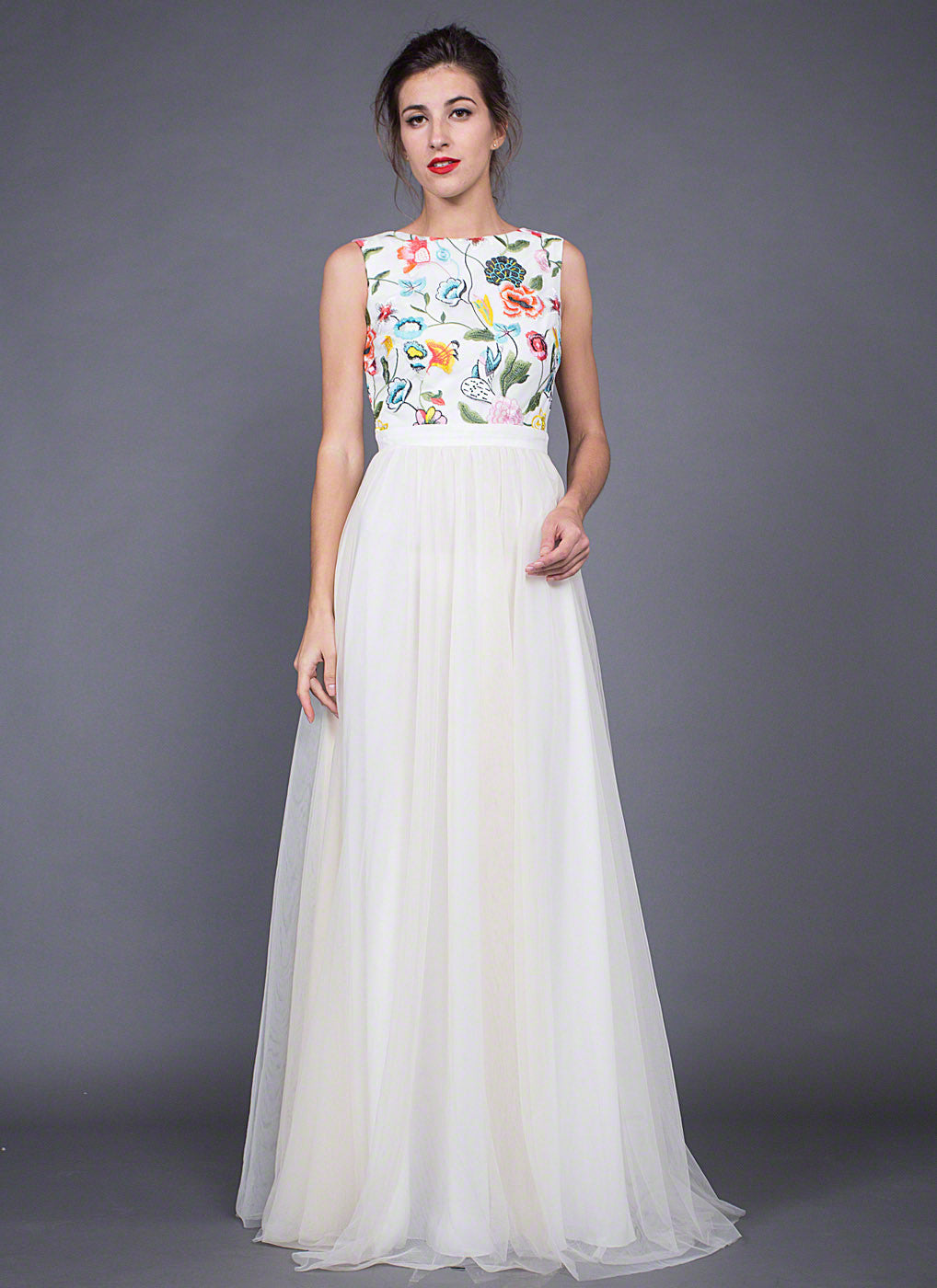 Vintage Style Tulle Evening Gown with Multi-Color Floral Embroidery ...