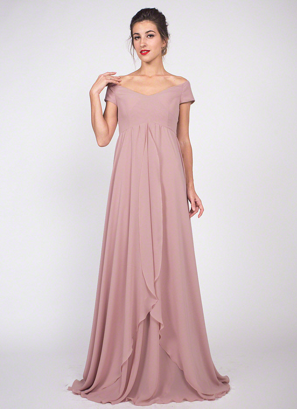 Dusty rose pink off the shoulder chiffon maxi dress bridesmaid dusty rose pink chiffon maxi dress bridesmaid dress off shoulder chiffon prom dress with asymmetric layered ombrellifo Gallery