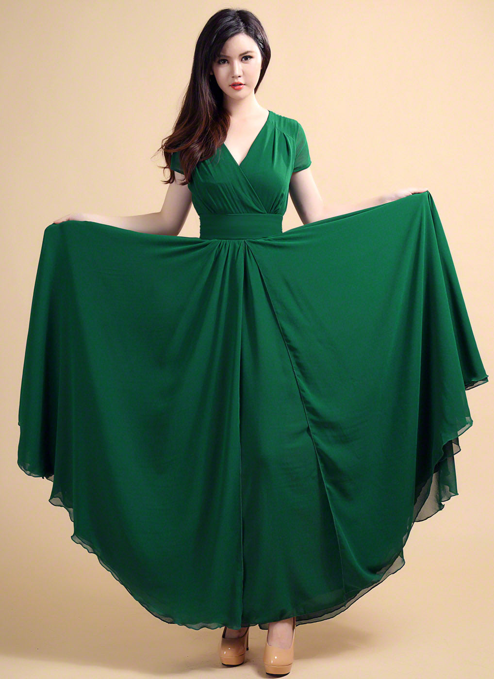 Emerald Green V Neck Maxi Length Prom Dress with Faux Surplice ...