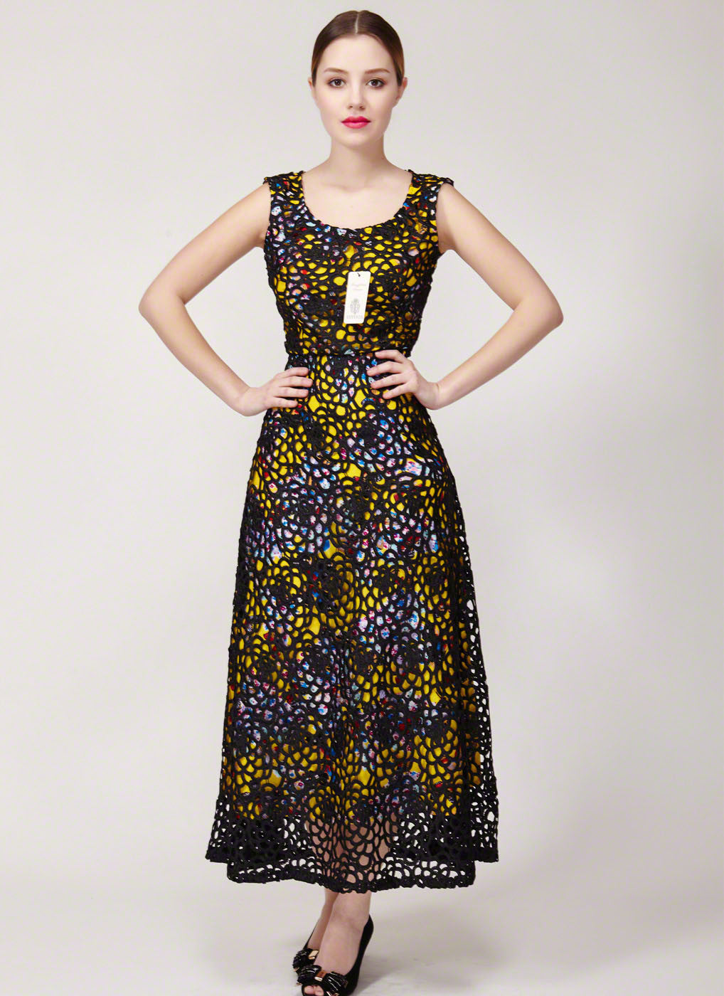 Black Lace Evening Dress with Yellow Butterfly Pattern Lining ...