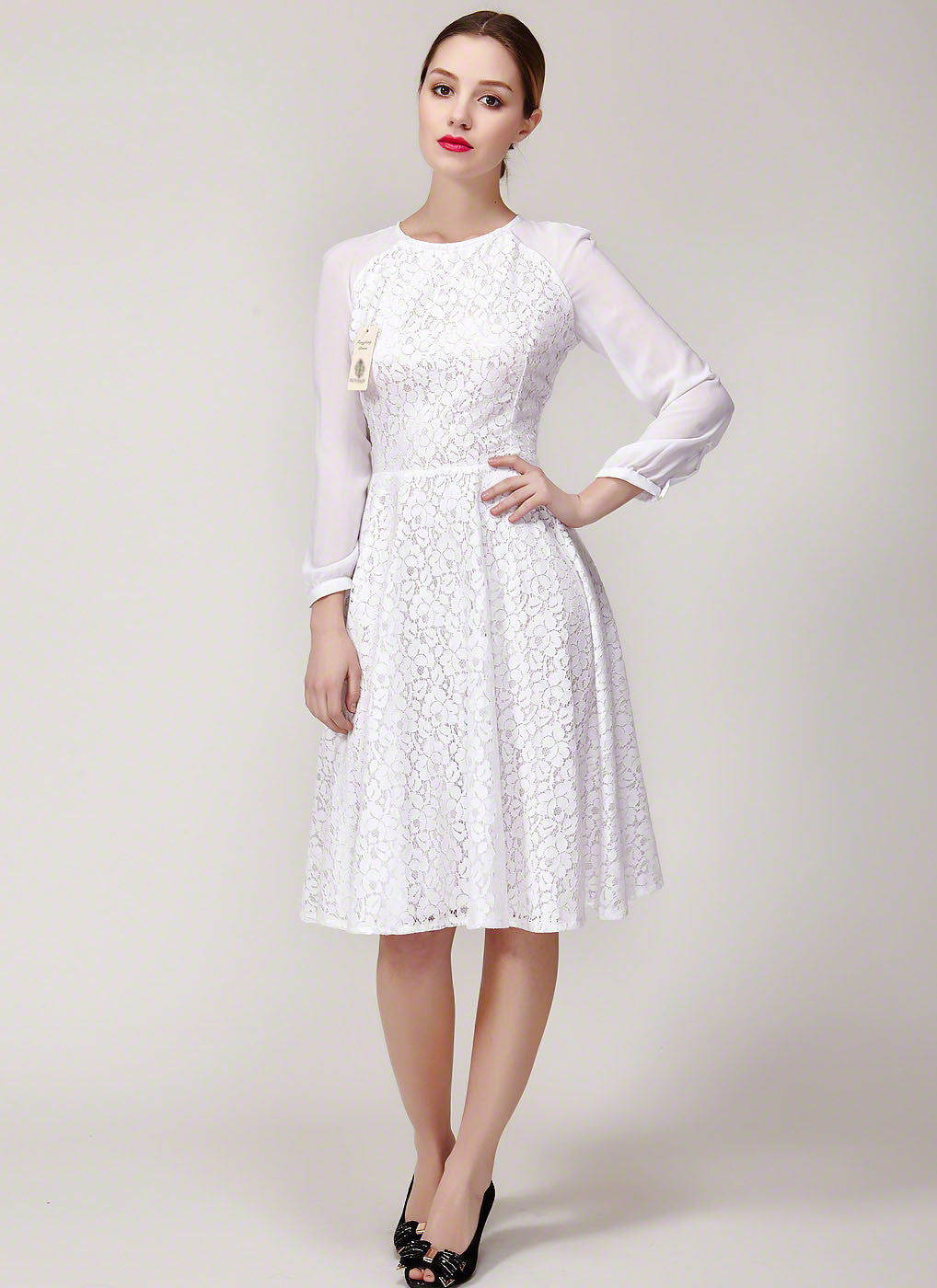 White Lace Fit And Flare Mini Dress With Raglan Sleeves Luvenza