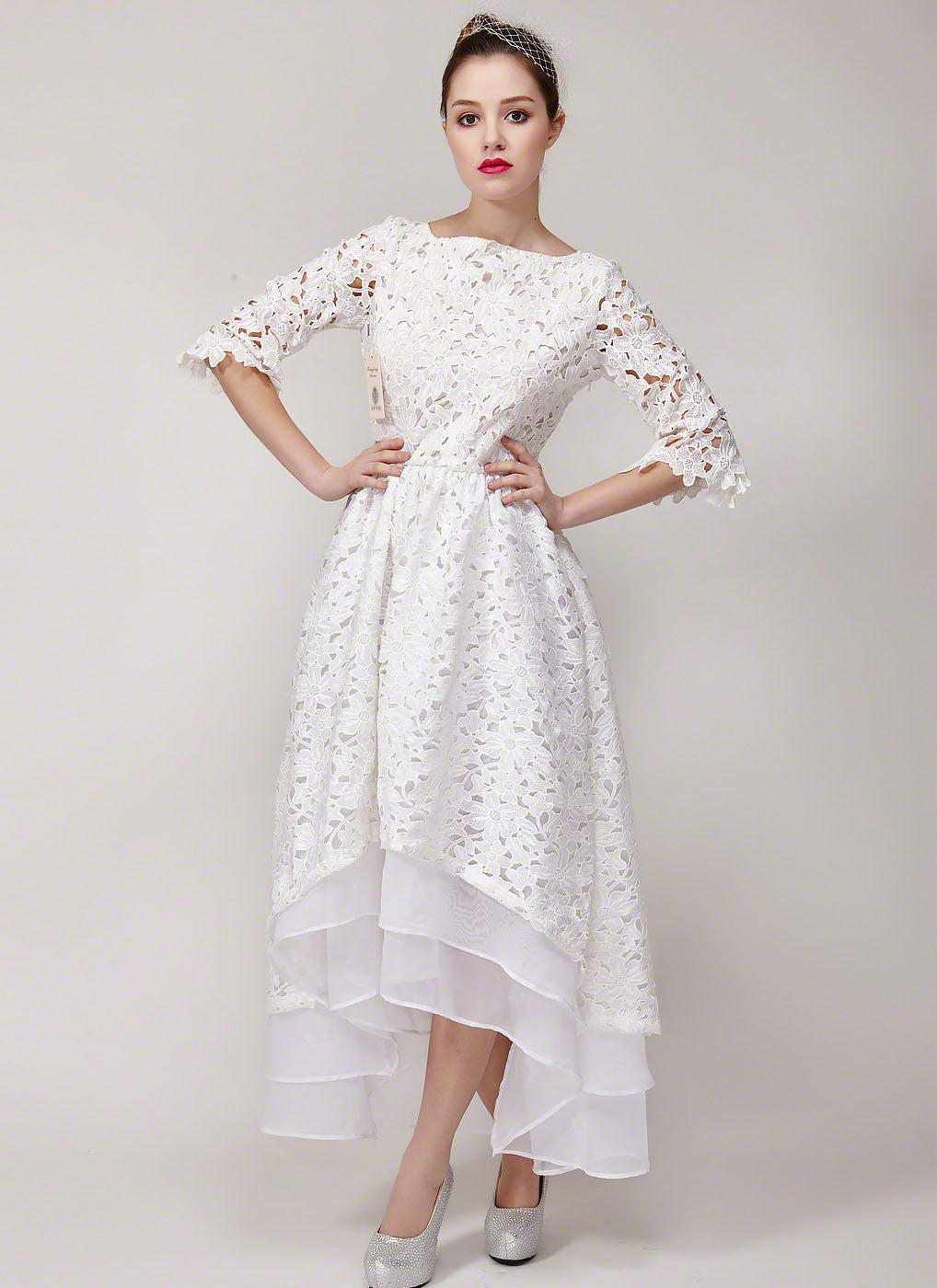 White Lace High Low Wedding Dress With Exposed Organza Layered Skirt Hem Floral: White High Low Wedding Dress At Reisefeber.org