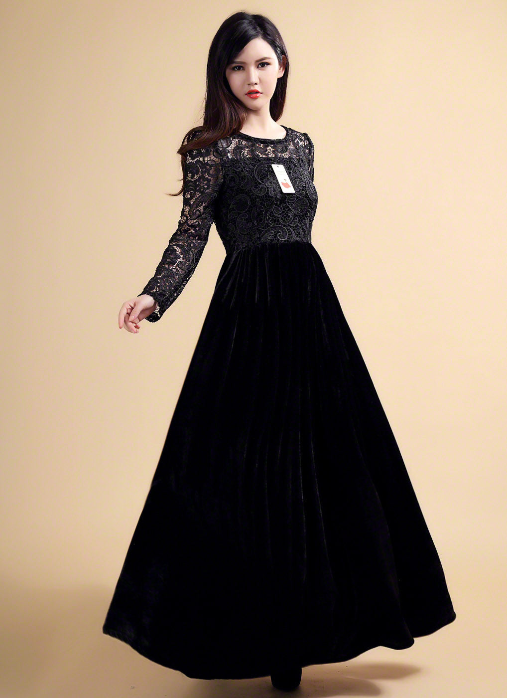 Long Sleeve Black Maxi Length Floral Lace Bodice and Velvet Skirt ...