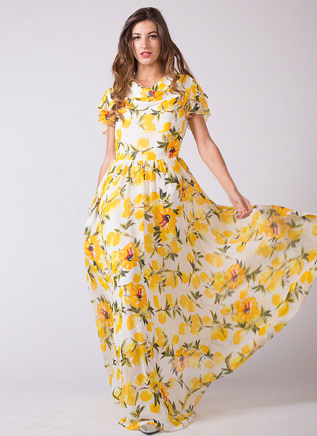 d2ac8730dc0 Sleeveless White and Yellow Lemon Print Chiffon Maxi Length Cocktail Dress
