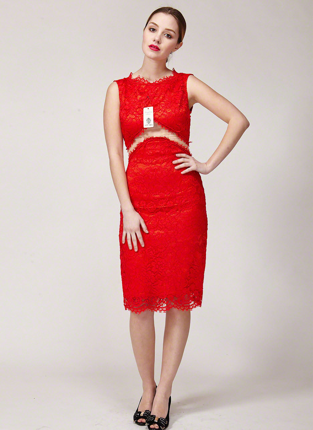 Red lace sheath dress with sheer see through angled organza waist red lace sheath dress with sheer tulle waist red lace sheath dress with see ombrellifo Image collections
