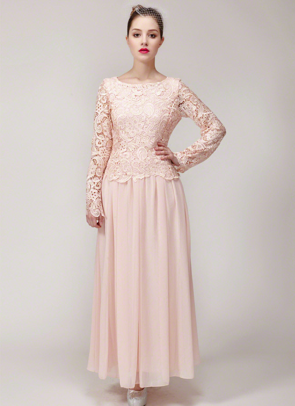 Nude Pink Lace Bridesmaid Maxi Dress with Floral Lace Peplum ...