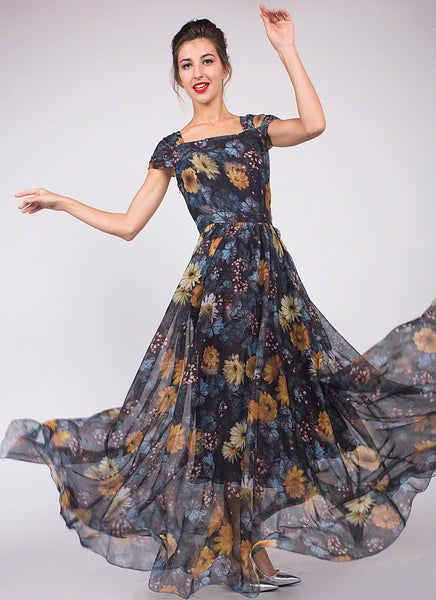 Handmade Black Floral Chiffon Maxi Dress/ Muti-Color Floral Print Narrow Waist Maxi Length Dress/ Short Sleeved Black Floral Print Sundress