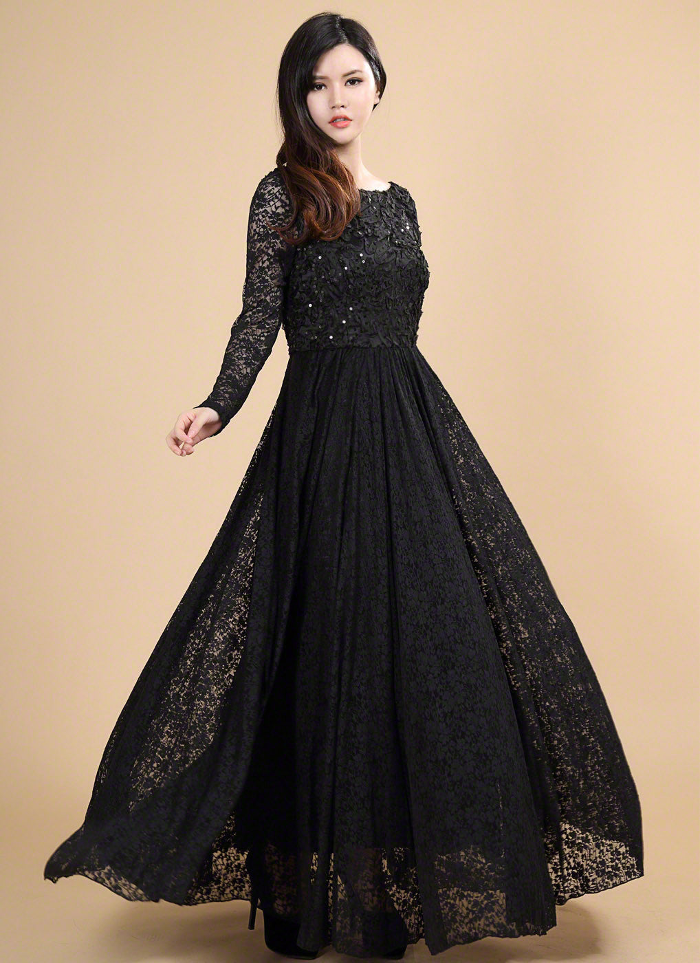 Open Back Black Lace Evening Dress With Sequin Embellishment And Floral Appliqué