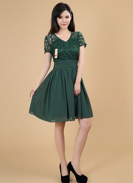 Dark Green Fit and Flare Floral Lace and Chiffon Bridesmaid Mini Dress with Wide Skirt Hem/ Lace and Chiffon Elegant Party Dress with Ruched Waistline