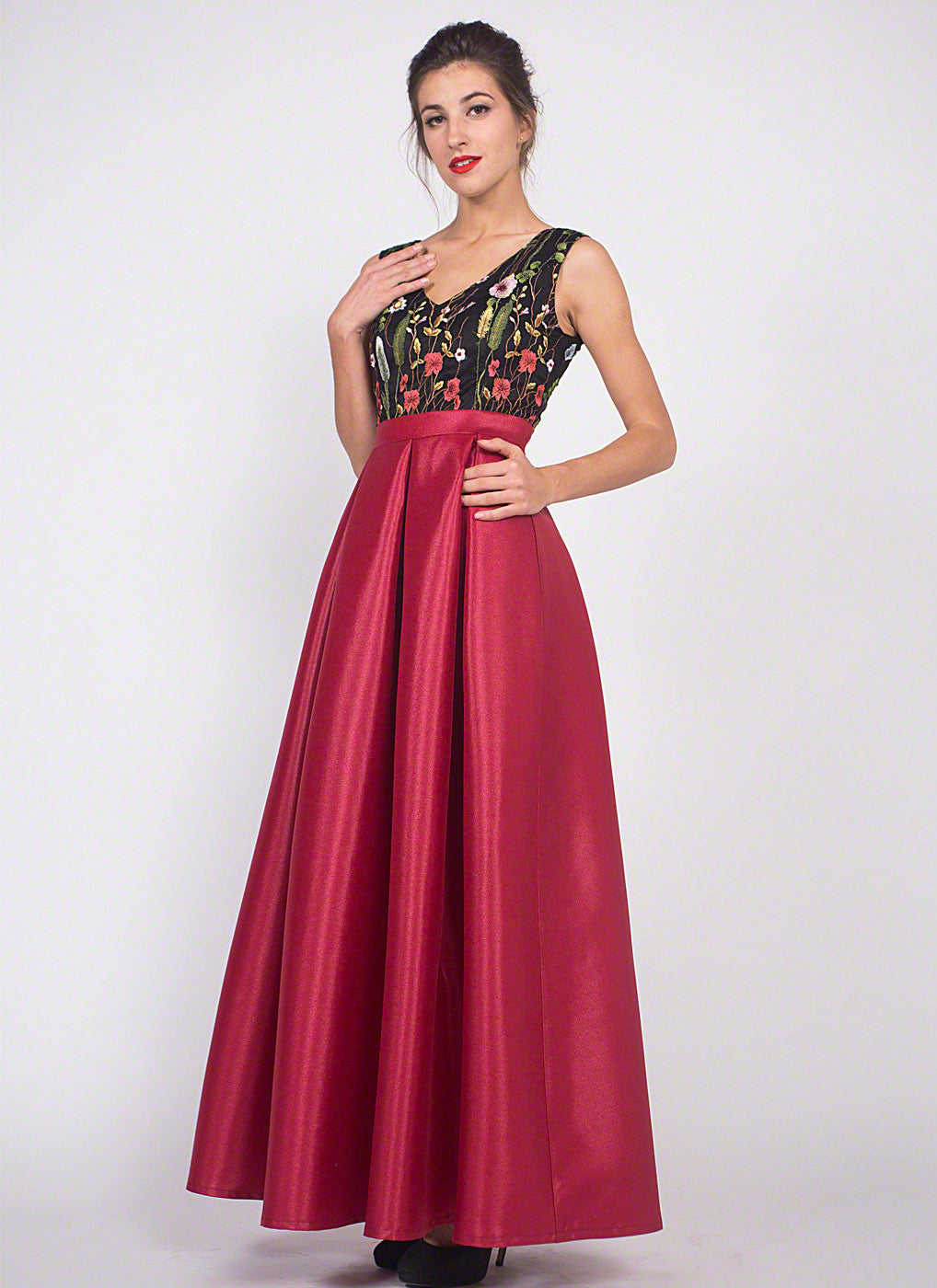 2f03a2127a Black Embroidered Tulle Lace Bodice Prom Dress with Long Shiny Red Satin  Skirt/ A Line