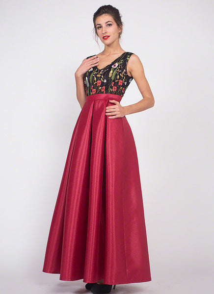 Black Embroidered Tulle Lace Bodice Prom Dress with Long Shiny Red Satin Skirt/ A Line Silhouette Black and Red Gown With Floral Embroidery