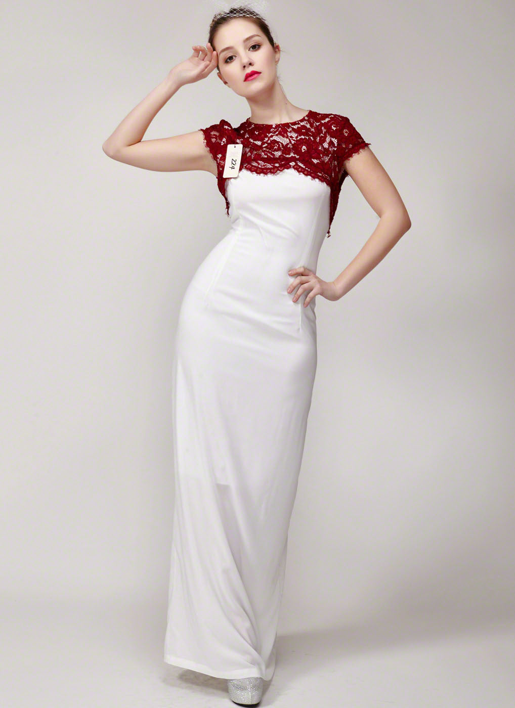 Red and White Chiffon and Floral Lace Maxi Length Formal Gown with ...