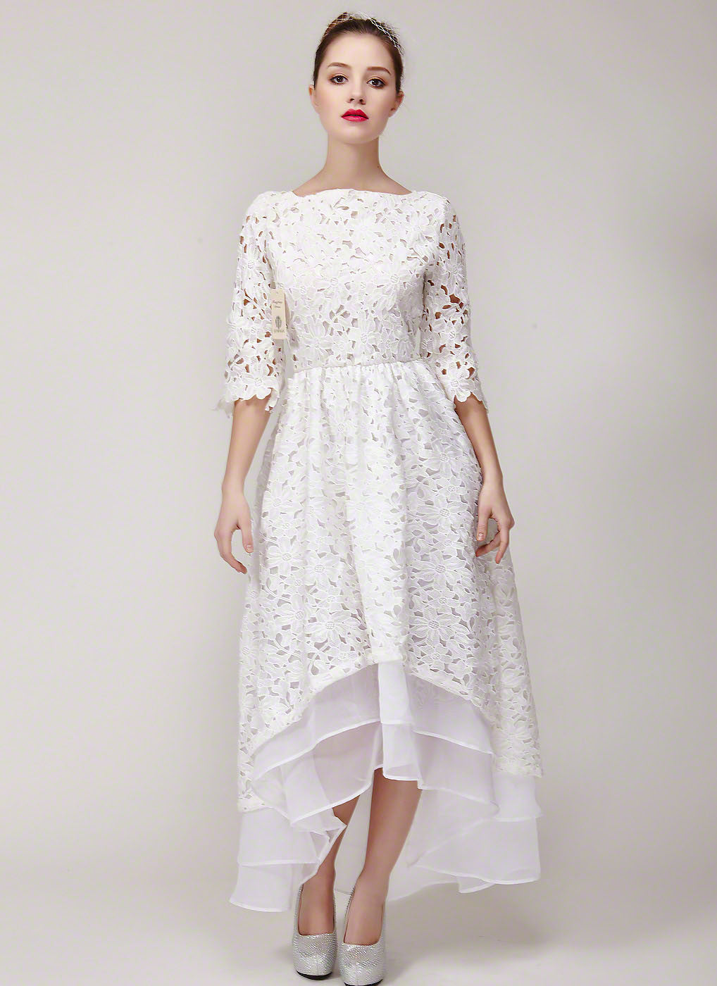 c5a672e1a3b White Lace High Low Lace Wedding Dress with Exposed Organza Layered Skirt  Hem  Floral Lace