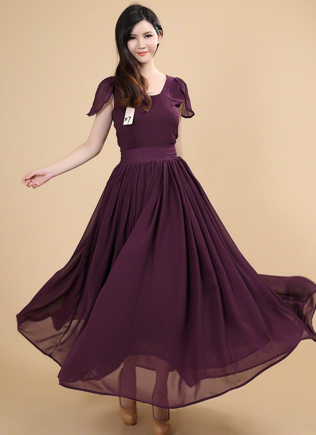 Fashion style Purple dark prom dresses with sleeves for girls