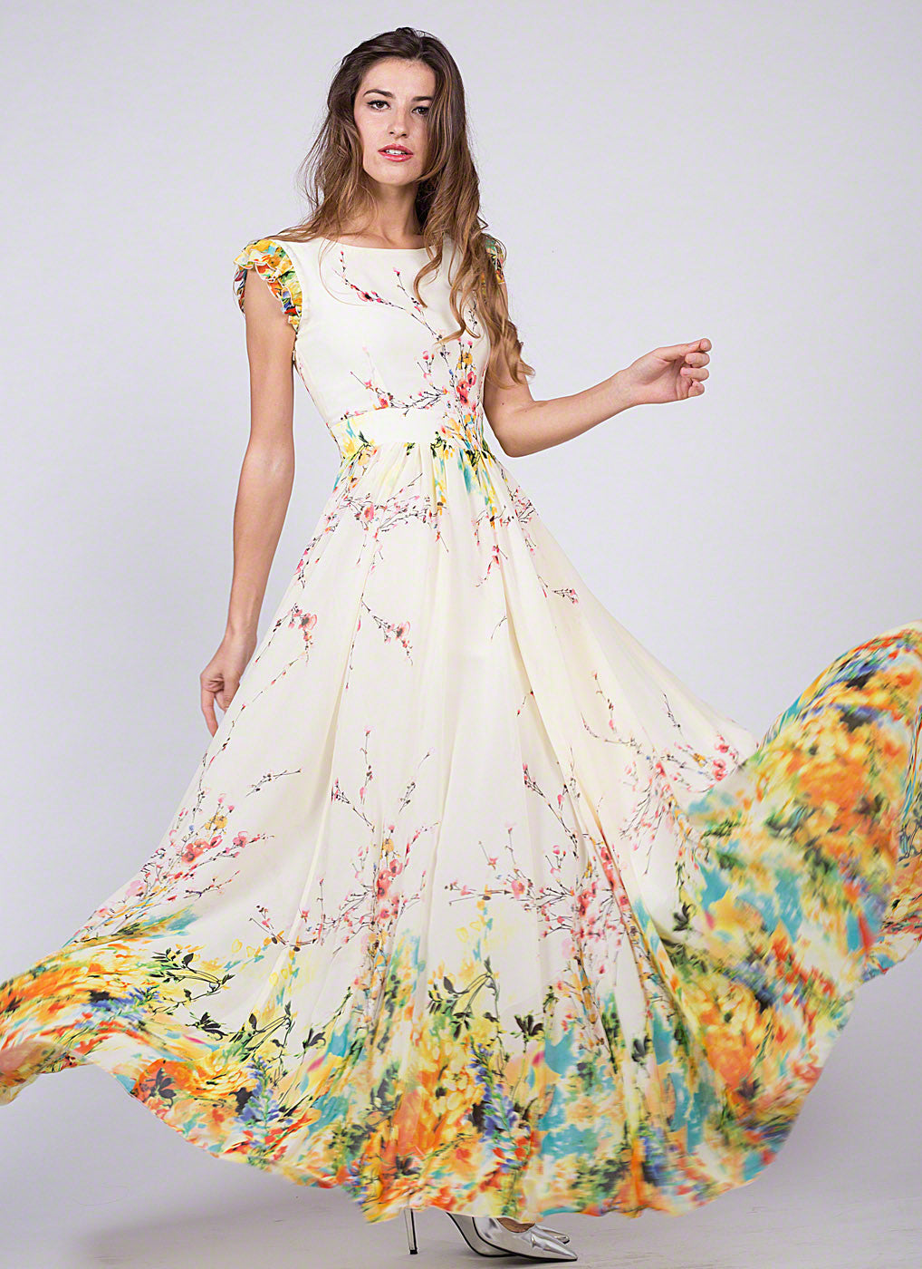 Artsy Yellow Chiffon Floral Prom Dress with Rainbow Floral ...