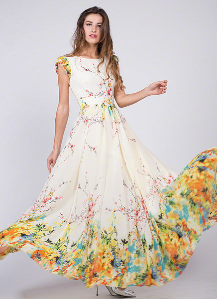 Artsy Yellow Chiffon Floral Prom Dress With Rainbow Floral