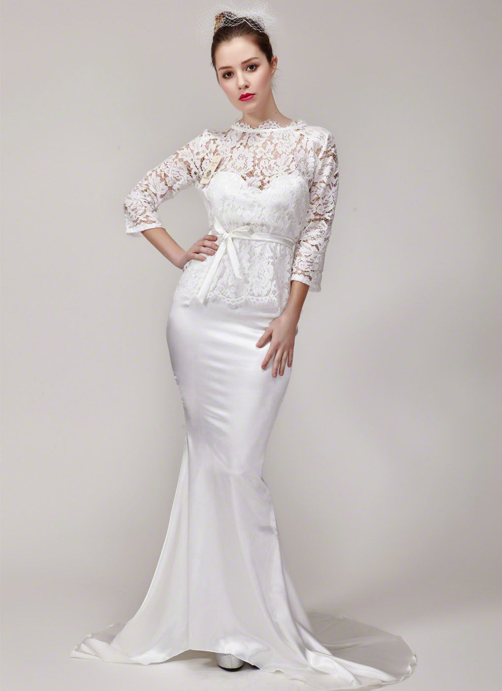 Long Sleeve Lace Peplum Wedding Gown with Satin Mermaid Skirt and ...