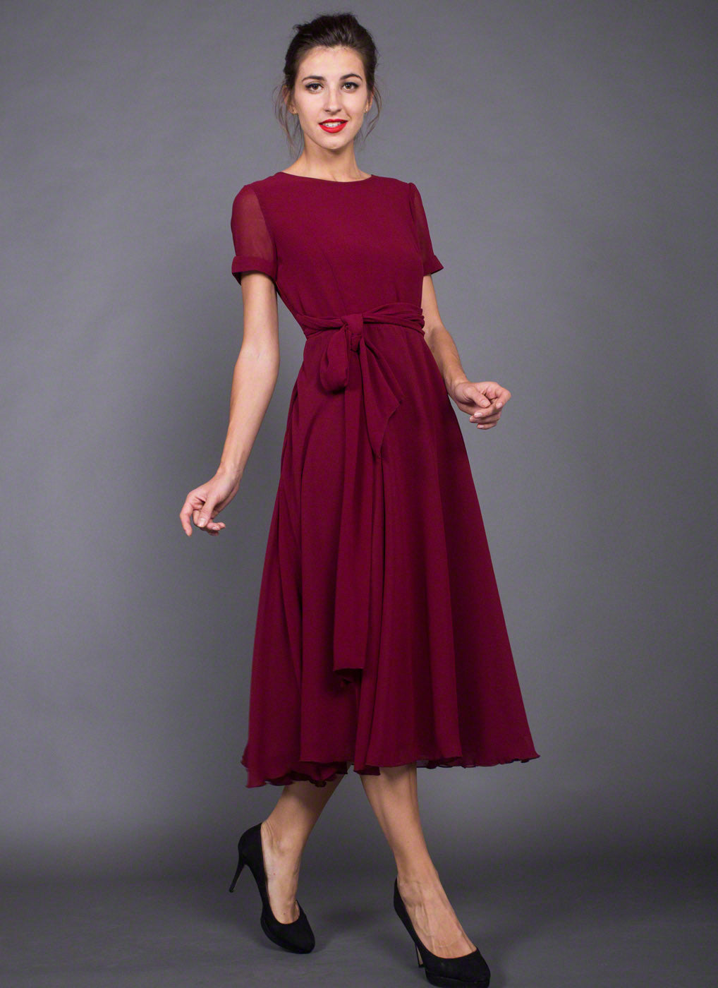 Chiffon dress midi length