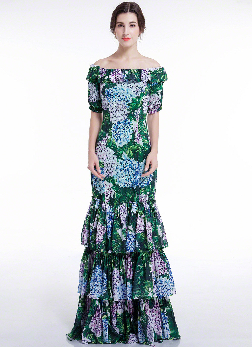 Chiffon Blue, Purple, Green Floral Print Maxi Fit and Flare ...