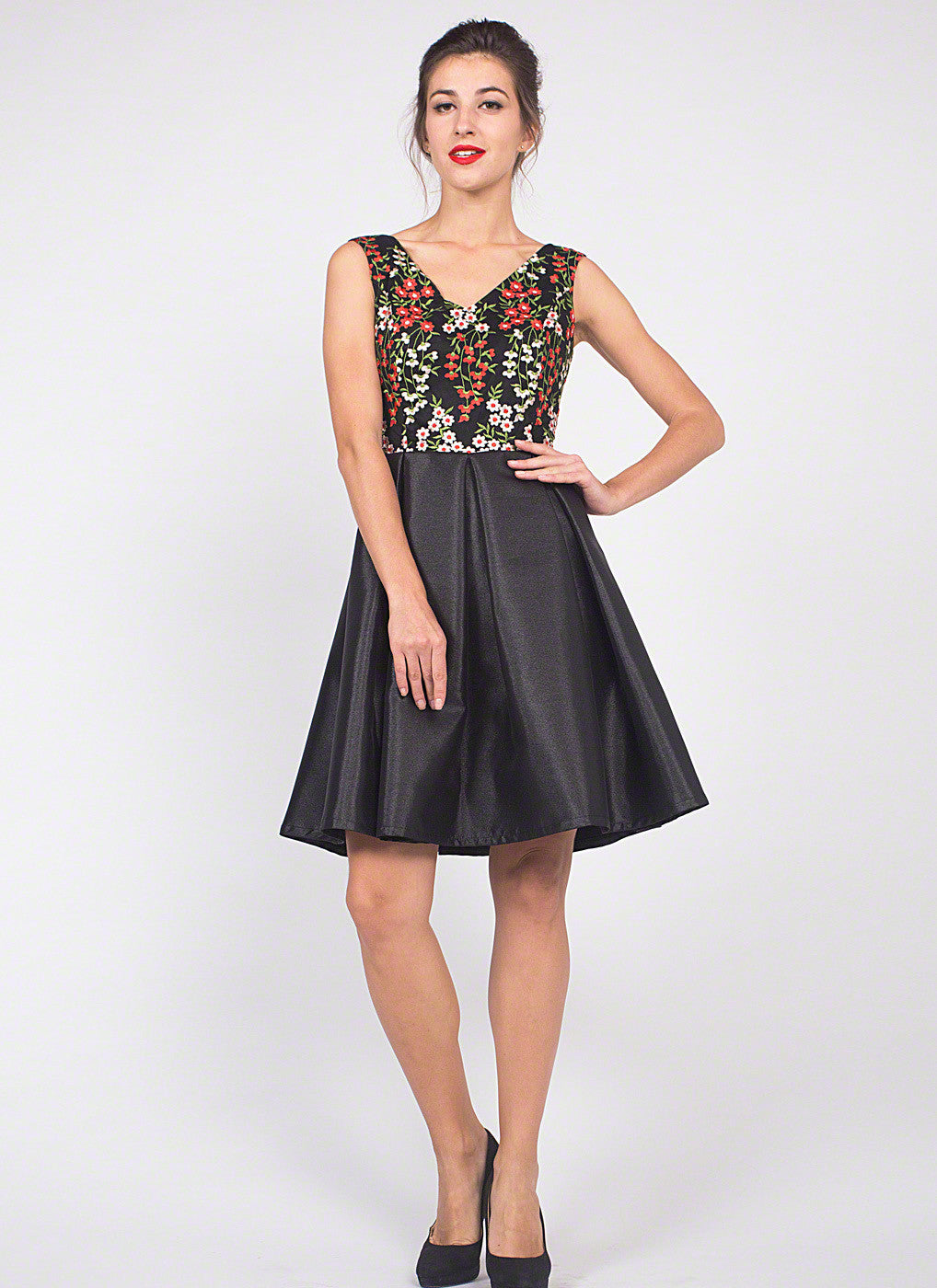 Black Tulle Mini Cocktail Dress with Red and White Floral Embroidery ...