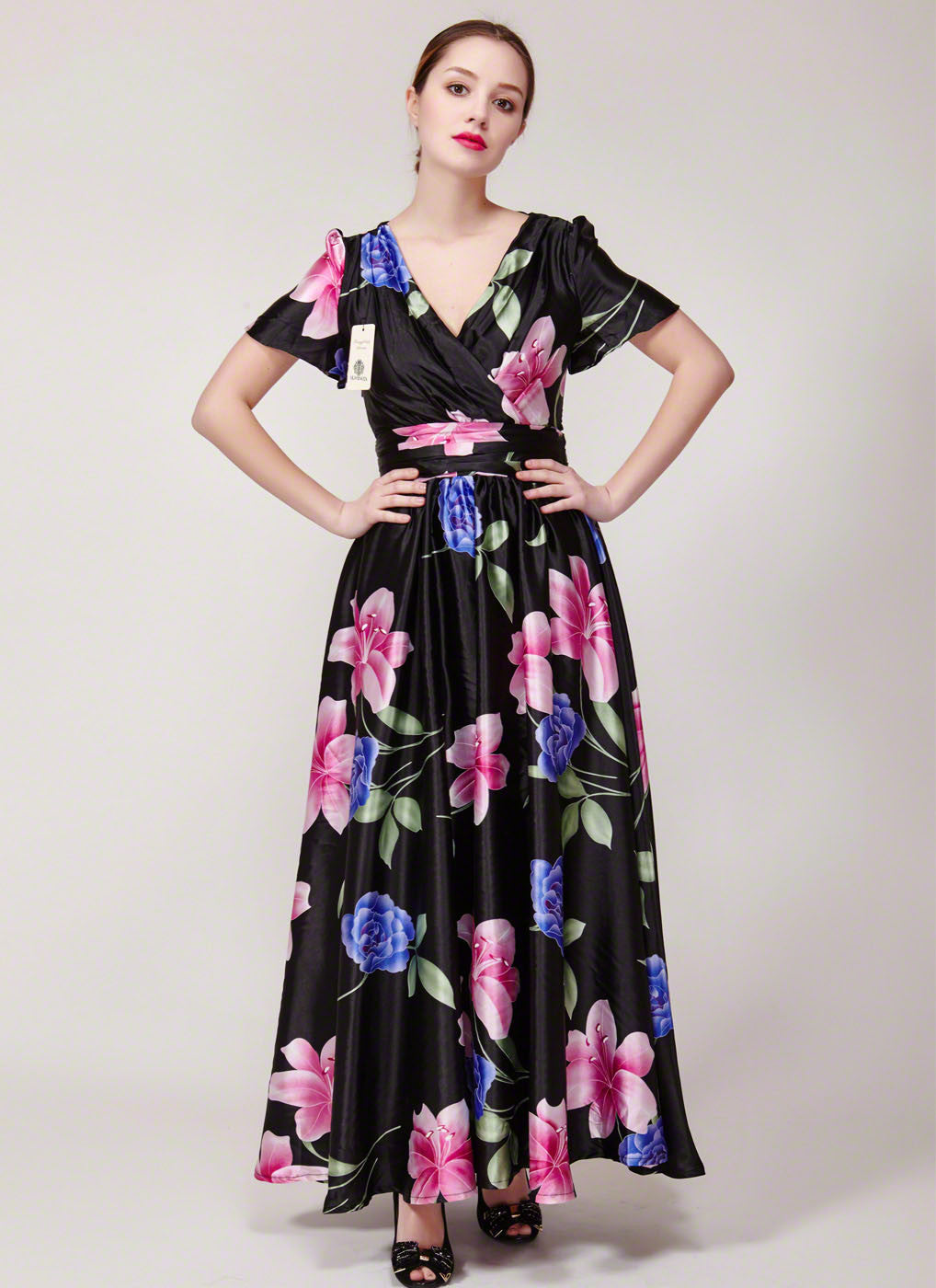 Versatile Short Sleeve V Neck Black Maxi Dress With Pink And Blue