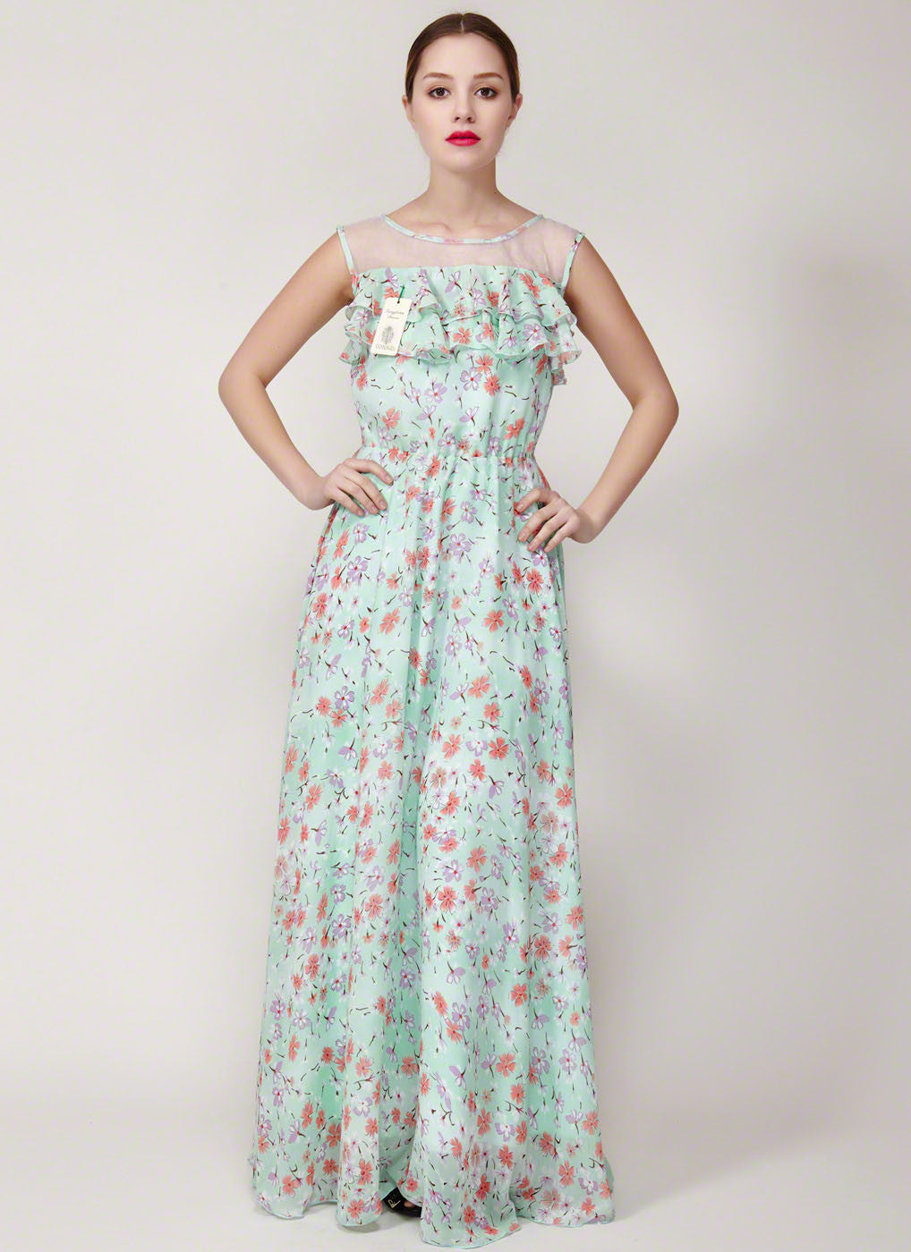 a62bb49adc77 Floral Printed Chiffon Maxi Dress with Sheer Organza and Flounce Details-  Aquamarine Floral Sun Dress