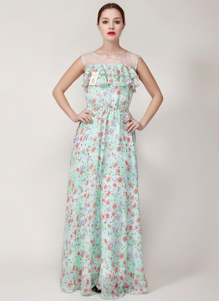 Floral Printed Chiffon Maxi Dress with Sheer Organza and Flounce Details- Aquamarine Floral Sun Dress-Floral Maxi Dress -Prom Dress