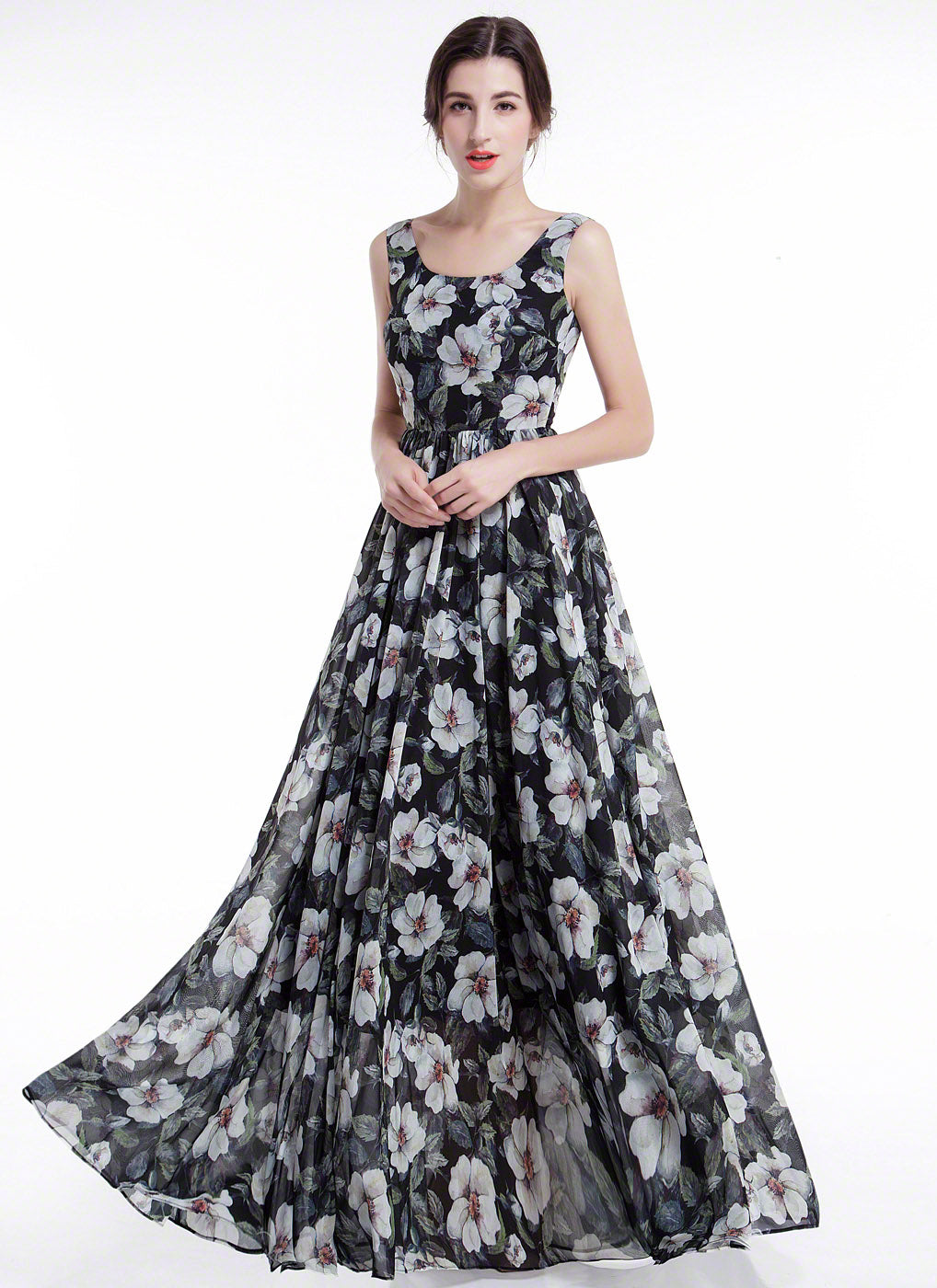 Black Chiffon White Floral Print Maxi Length Evening Dress with Scoop Neck and Wide Hem Skirt