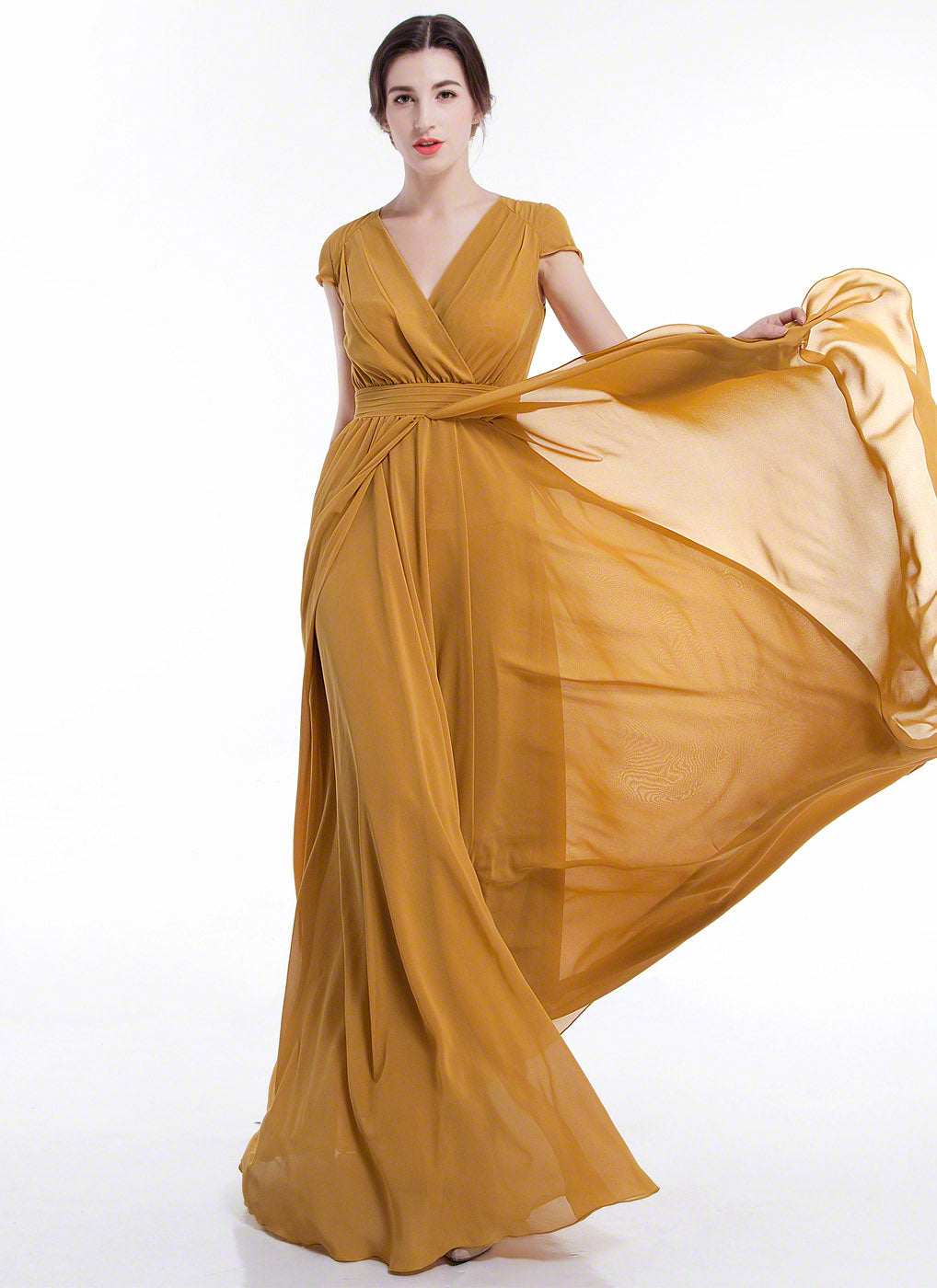 Mustard Yellow Maxi Length Evening Dress With Crossover Bodice And