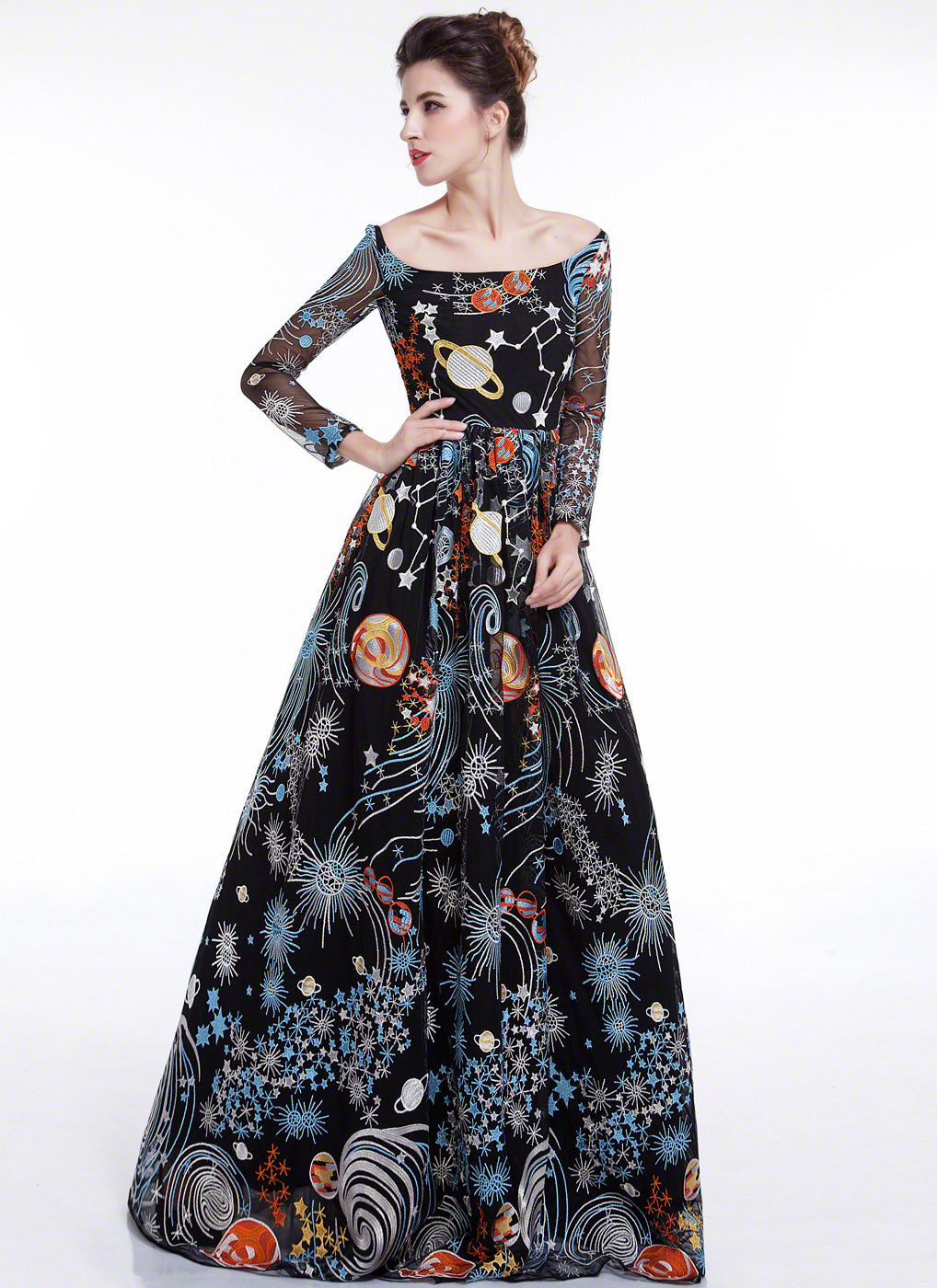 Black Galaxy Print Floor Length Evening Dress with Colorful Outer Space Embroidery and Long Sleeves