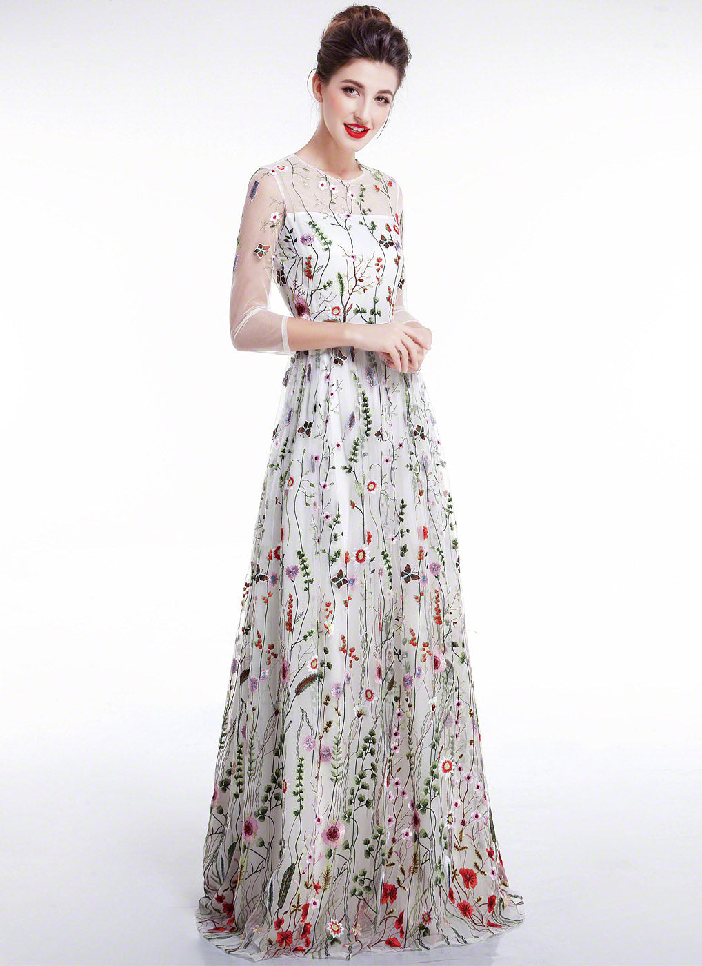 White Tulle Colorful Floral Embroidery Whimsical Maxi Evening Dress with Sheer 3/4 Sleeves