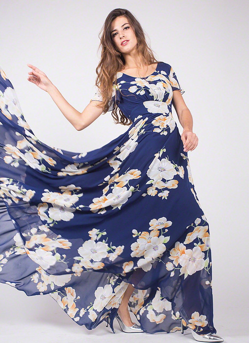 c7eef9590c89 Dark Blue Chiffon Maxi Length Evening Dress with Large White Floral Print,  Elegant Blue Long