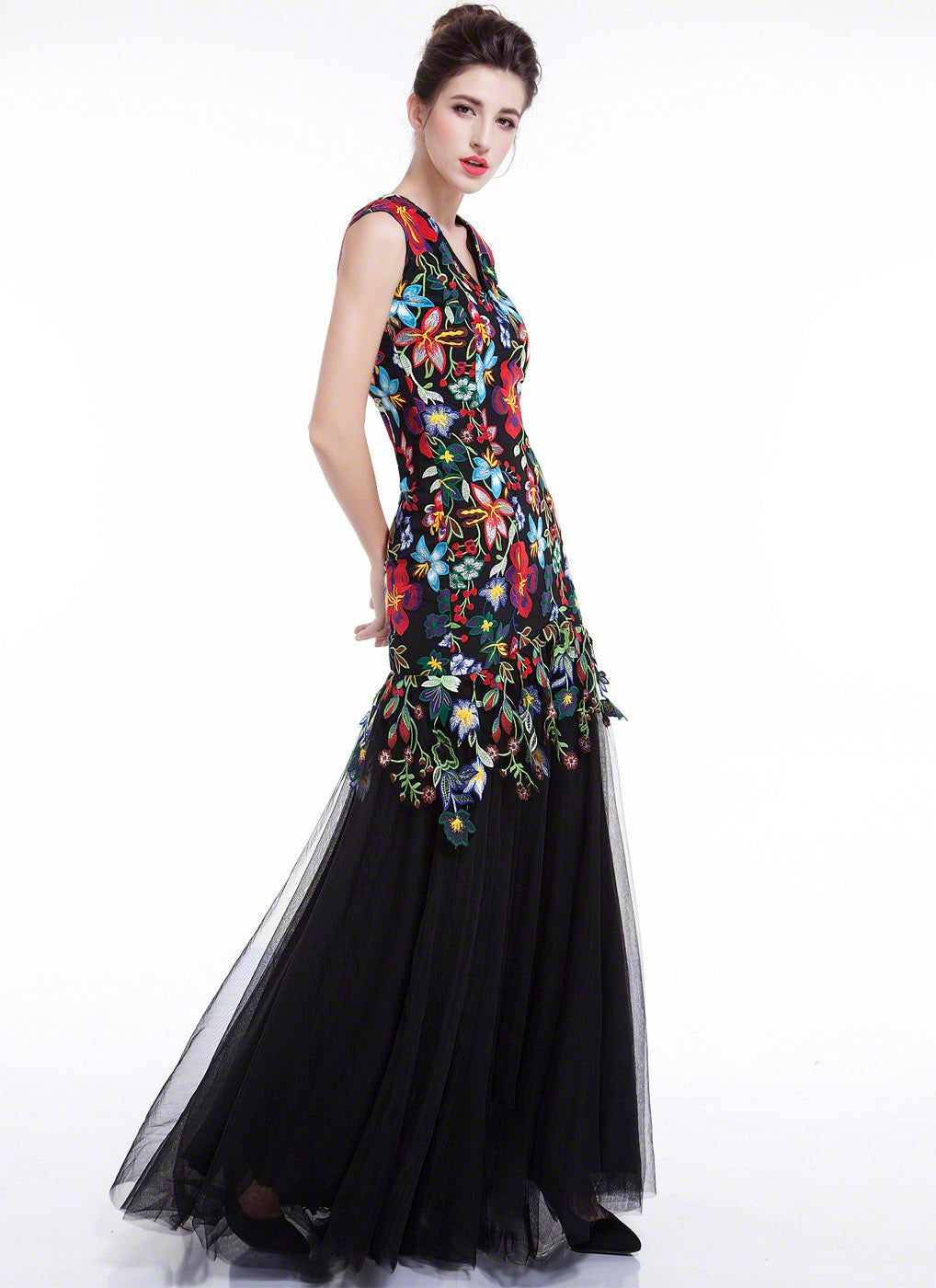 Colorful Floral Embroidery Mermaid Silhouette Black Maxi Evening Dress