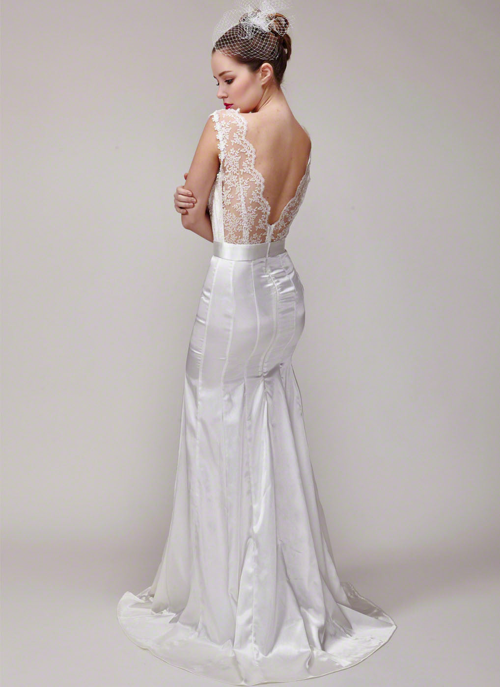 Deep V Back White Lace Satin Mermaid Silhouette Wedding Dress Evening Gown