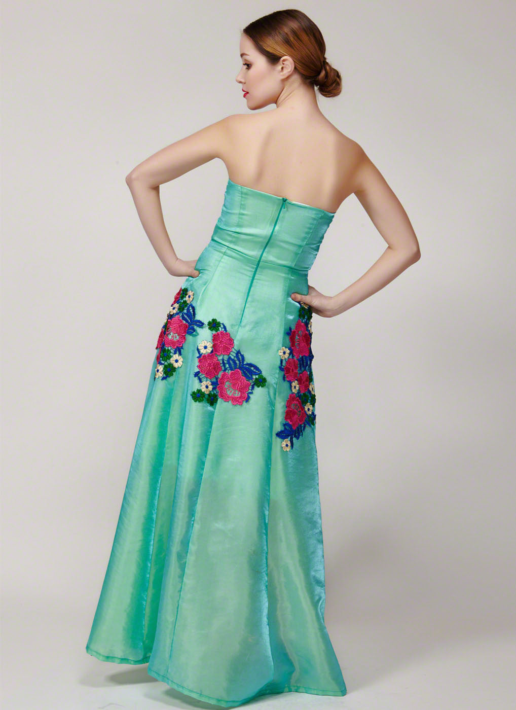 Strapless Turquoise Satin Prom Dress with Colorful Floral Lace ...