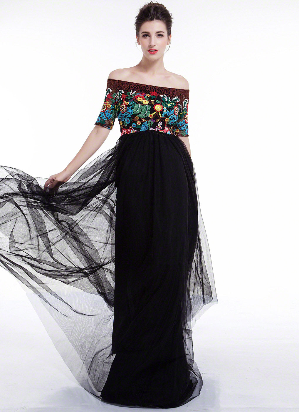 Black and Brown Elegant Bohemian Maxi Evening Dress with Floral ...