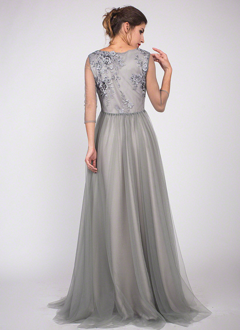Grey Floor Length Floral Embroidery Bodice Evening Gown with ...