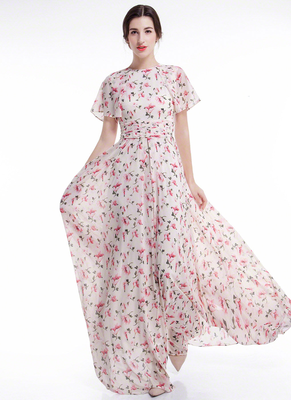75c6ead8f2 Dusty Rose Pink Chiffon Floral Conservative Maxi Evening Dress with Do –  Luvenza - Independent Designer Handmade Dress