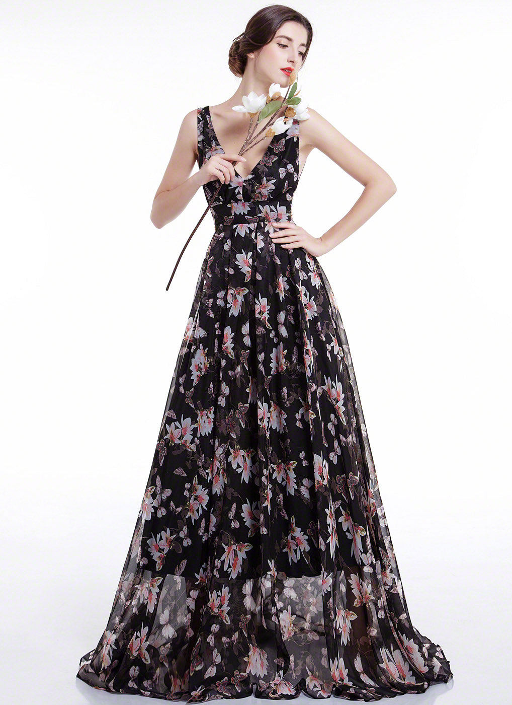 Black Chiffon Floral Print Maxi Length Evening Dress with Pleated ...