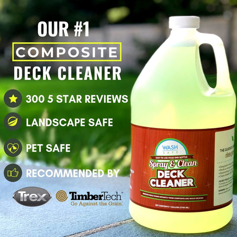 best composite deck cleaner, trex deck cleaner, spray and clean, timbertech, azek, how to clean composite deck, composite deck cleaning, deck, decks, deck decor