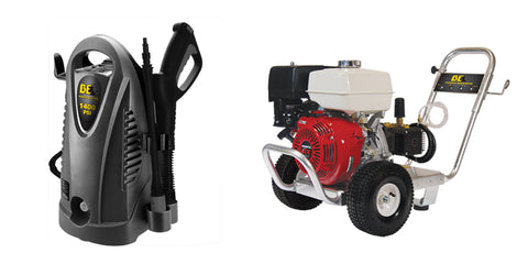 Electric and gas pressure washers.