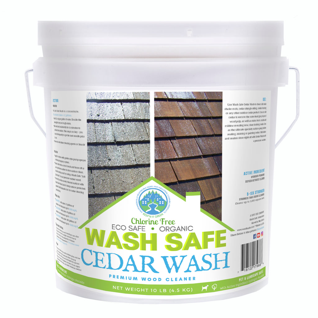 Cedar Wash 10 pounds, cedar siding, cedar shakes, cedar shingles, cleaning cedar siding with oxygen bleach, how to clean cedar wood, power washing and staining cedar siding Cedar Wood Shingle, Shake and Siding Cleaner. Use the power of oxygen-bleach to remove stains from moss, mold, algae and lichen. Clean and brighten cedar siding and roof shingles with Cedar Wash by Wash Safe. Safe for plants and landscaping. Clapboard.