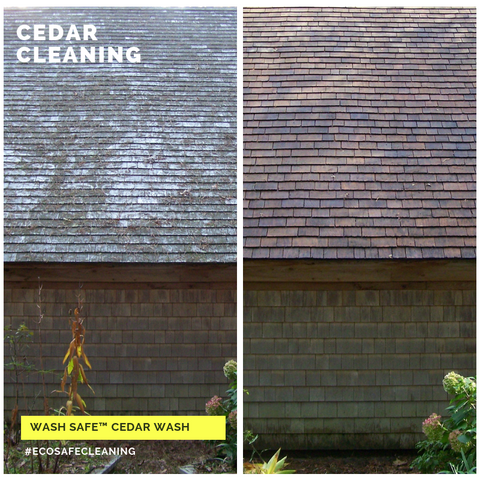 Image of cedar siding, cedar shakes, cedar shingles, cleaning cedar siding with oxygen bleach, how to clean cedar wood, power washing and staining cedar siding. Cedar Wood Shingle, Shake and Siding Cleaner. Use the power of oxygen-bleach to remove stains from moss, mold, algae and lichen. Clean and brighten cedar siding and roof shingles with Cedar Wash by Wash Safe. Safe for plants and landscaping. Clapboard.