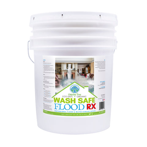 Image of flood clean up, water damage, flood cleaner, flood RX, wash safe, mold, mildew, algae, flood solution, wash safe, pressure washing chemicals, biodegradable