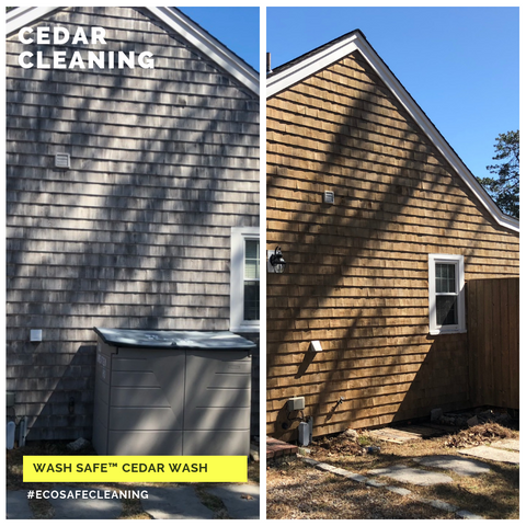 Image of cedar siding, cedar shakes, cedar shingles, cleaning cedar siding with oxygen bleach, how to clean cedar wood, power washing and staining cedar siding