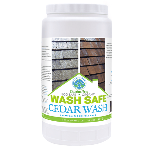 Image of Cedar Wash 3 pounds, cedar siding, cedar shakes, cedar shingles, cleaning cedar siding with oxygen bleach, how to clean cedar wood, power washing and staining cedar siding. Cedar Wood Shingle, Shake and Siding Cleaner. Use the power of oxygen-bleach to remove stains from moss, mold, algae and lichen. Clean and brighten cedar siding and roof shingles with Cedar Wash by Wash Safe. Safe for plants and landscaping. Clapboard.