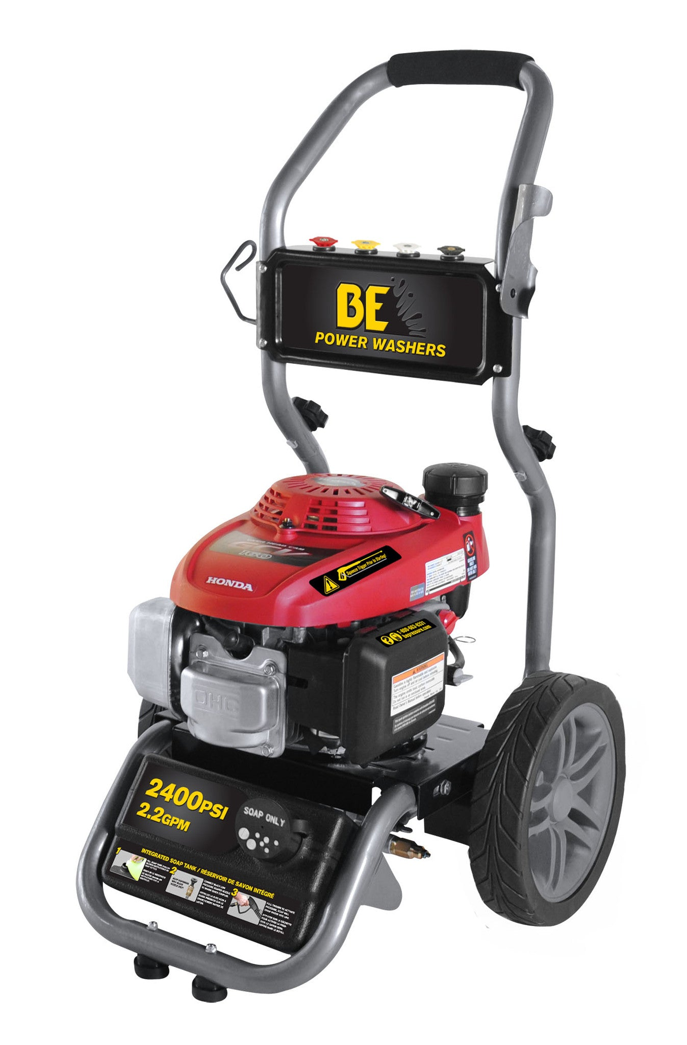 2400 psi Gas Pressure Washer by BE Pressure Washer w/ Honda Engine (BE2455HVAS)