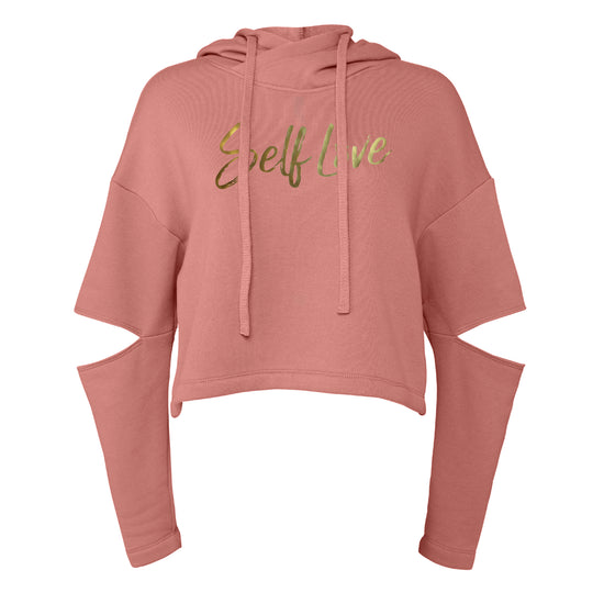 SELF LOVE | CUT OUT FLEECE HOODIE