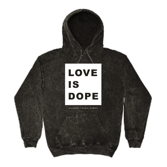 LOVE IS DOPE | GREY MINERAL HOODIE